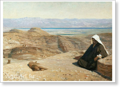 "Polenov Vasily. He was in the Desert. From the ""Christ's Life"" Cycle. Art print on canvas"