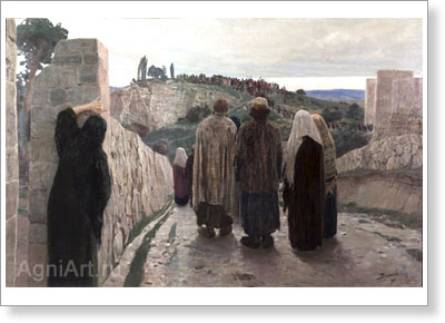"Polenov Vasily. Golgotha (""They stood at a distance…"" From ""Christ's Life Cycle). Art print on canvas"