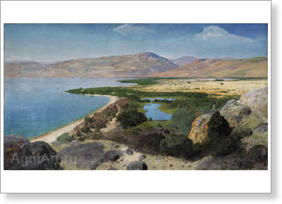 Polenov Vasily. Lake Gennesaret. Art print on canvas - paintings, sale of paintings