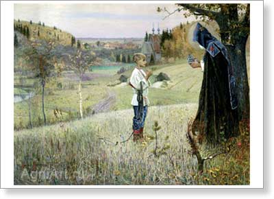 Nesterov Mikhail. The Young Bartholomew's Vision. Art print on canvas