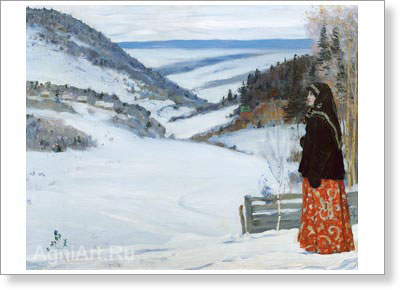 Nesterov Mikhail. In Winter in the Convent. Art print on canvas