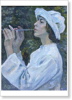 Nesterov Mikhail. Shepherd - Portrait of N.M.Nesterova. Art print on canvas