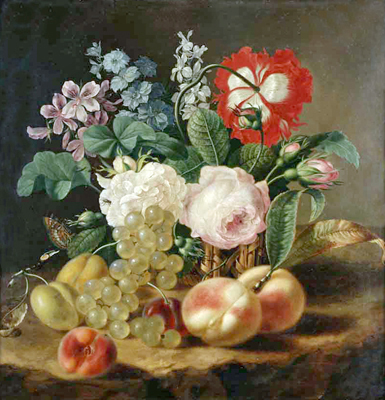 Anonymous artist. Flowers and Fruit. Art print on canvas