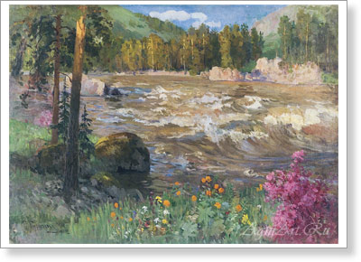 Choros-Gurkin Grigory. The Katun in Spring. Fine art postcard A6
