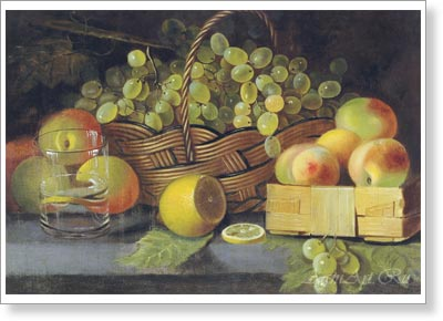 Khrutsky Ivan. Still-life with apples, grapes and a lemon. Fine art postcard A6