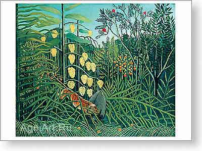 Rousseau Henri. In a Tropical Forest. Struggle Between Tiger and Bull.. Fine art postcard A6