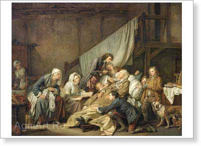 Greuze Jean-Baptiste. Paralytic Tended by His Children. Fine art postcard A6