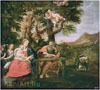 Albani Francesco. Rest on the Flight into Egypt. Fine art postcard A6