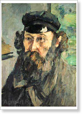 Cezanne Paul. Self-Portrait in a Cap. Fine art postcard A6