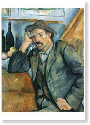 Cezanne Paul. The Smoker. Art print on canvas