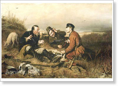 Perov Vasily. Hunters on a Halt. Fine art print B2