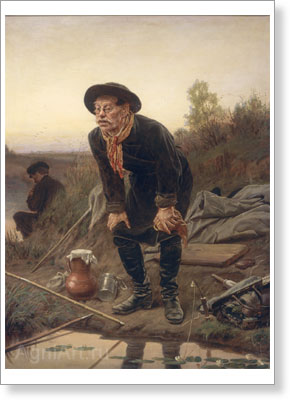 Perov Vasily. The fisher. Art print on canvas