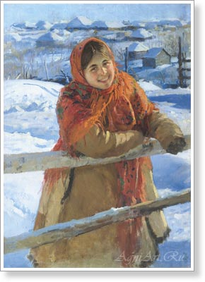 Sychkov Fedot. At the Fence - Winter. Fine art postcard A6