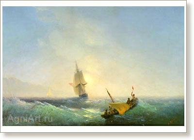 Aivazovsky Ivan. Rescue from the Shipwreck. Fine art postcard A6