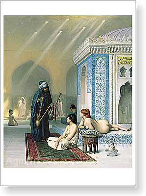 Gerome Jean-Leon. Pool in a Harem. Art print on canvas