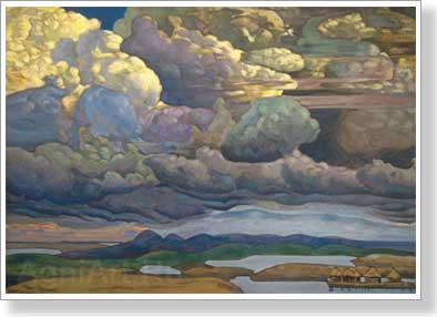 Roerich Nicholas. Battle in the Heavens. Art print on canvas