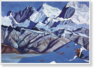 Roerich Nicholas. Red Horses. Art print on canvas - paintings, sale of paintings