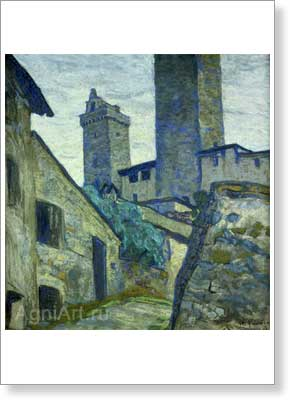 Roerich Nicholas. San Geminiano. Study. Art print on canvas