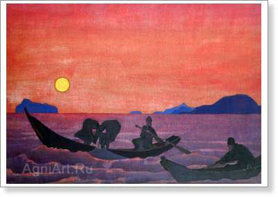 Roerich Nicholas. And We Continue Fishing. Fine art postcard A6