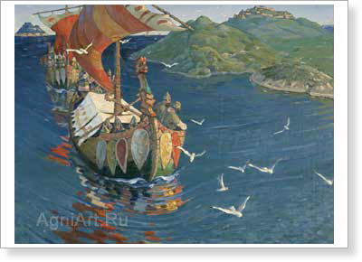 Roerich Nicholas. Overseas Guests. Art print on canvas