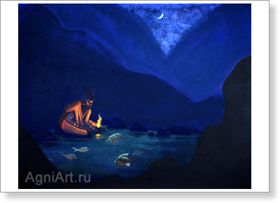 Roerich Nicholas. Conjuration -- Teraphim. Art print on canvas