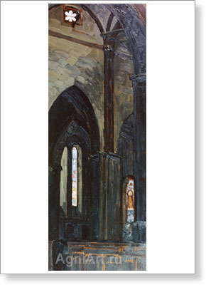 Roerich Nicholas. Riga — Interior of the Cathedral. Art print on canvas