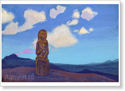Roerich Nicholas. Guardian of the Chalice. Mongolia. Art print on canvas