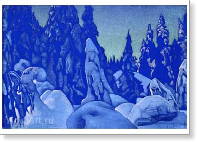 Roerich Nicholas. Snow Guardians. Art print on canvas