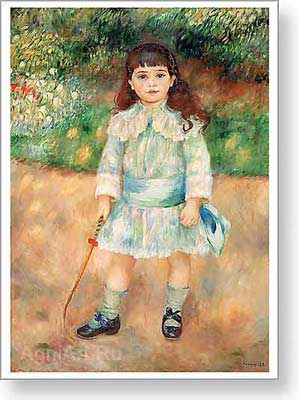 Renoir Pierre Auguste. Child with a Whip. Fine art postcard A6