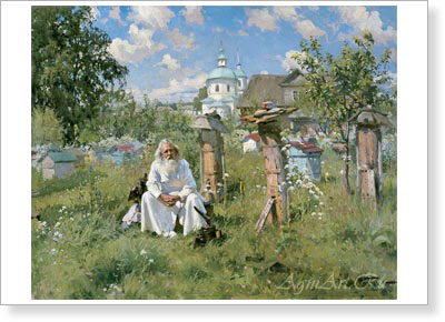 Makovsky Alexander. At the Apiary. Art print on canvas