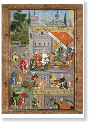 Babur's Feast in the Palace of Muzaffar Mirza in the White Garden in Herat. Event of 912 (1506–1507). Fine art print A3