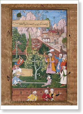 Babur Watching the Aryk Bed Being Straightened in His Garden in Istalif near Kabul. Event of 910 (1504–1505).  Art print on canvas