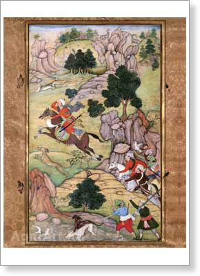 Rebellious Emir Hasan Yakub Fleeing from a Hunting Field to Samarkand. Event of 900 (1494–1495). Fine art print A3