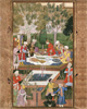 Babur's Feast in Jahan-Ara Garden in Herat on a Visit to Badi az-Zaman Mirza. Event of 912 (1506–1507). Art print on canvas