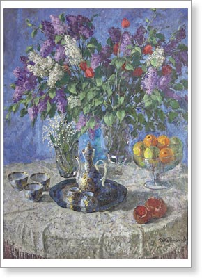 Kurnakov Andrei. Lilac and Lilies of the Valley. Art print on canvas