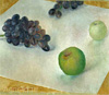 Petrov-Vodkin Kuzma. Still Life -- Grapes and Apples. Art print on canvas