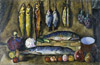 Mashkov Ilya. Still life. Fish, vegetables, fruits. Fine art print A3