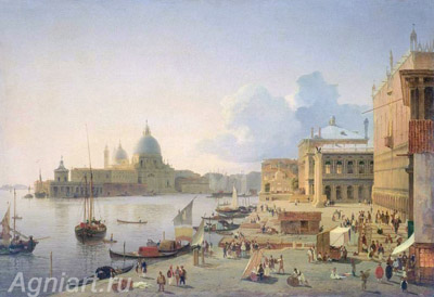 The Tretyakov Gallery. Mordvinov A. Quay degli Schiavoni in Venice. Art print on canvas