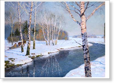 Lednyov-Shchukin Sergey. Winter Landscape. Art print on canvas - paintings, sale of paintings