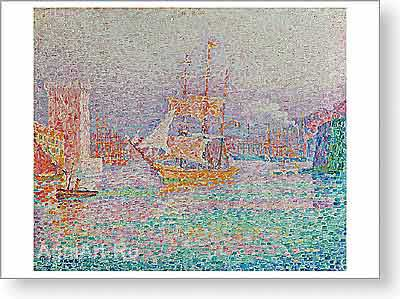 Signac Paul. The Port of Marseilles. Fine art postcard A6