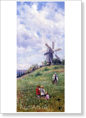 Makovsky Vladimir. Summer. Polyptych 2. Art print on canvas