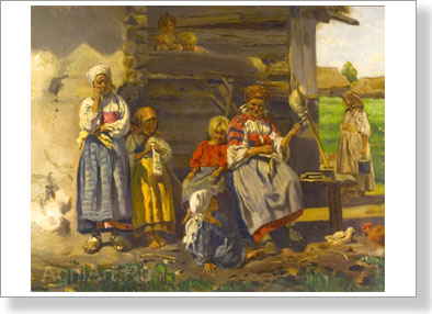 Makovsky Vladimir. In village. Art print on canvas