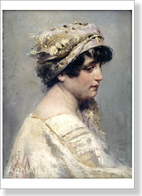 Makovsky Vladimir. Etude of a head of the Italian. Art print on canvas