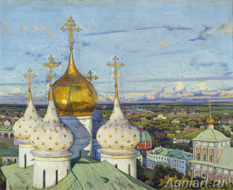 The Tretyakov Gallery. Yuon Constantin. Domes and Swallows. Art print on canvas
