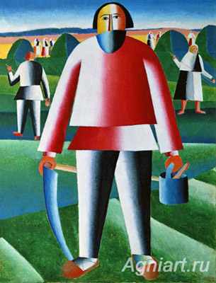 The Tretyakov Gallery. Malevich K. In the Hayfield. Art print on canvas