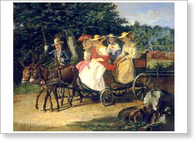 The Tretyakov Gallery. Bryullov A. Ride in a Carriage. Art print on canvas