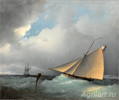 The Tretyakov Gallery. Aivazovsky I. Entering a sailboat in the bay. Art print on canvas