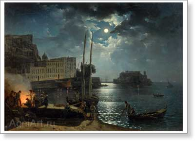 The Tretyakov Gallery. Shchedrin Sylvester. Moonlit Night in Naples. Art print on canvas