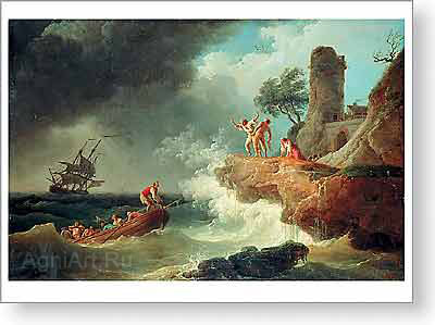 Vernet Claude Joseph. The Storm. Fine art postcard A6
