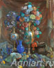 Vase, Flowers and Fruit. Art print on canvas